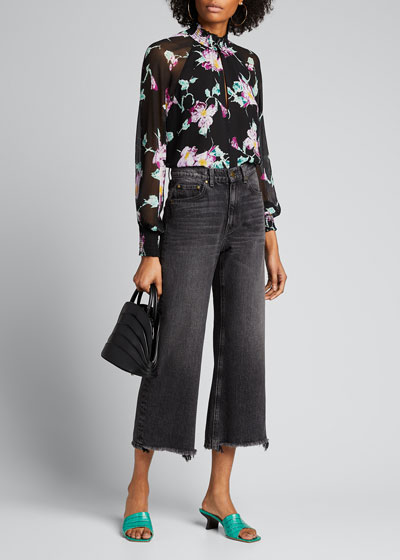 Venetia Floral High-Neck Keyhole Top