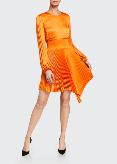 Behati Pleated Long-Sleeve Asymmetric Dress