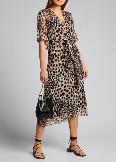 Ava Leopard-Print Short-Sleeve Dress