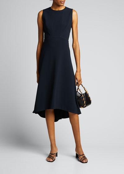 Leighton Sleeveless High-Low Crepe Dress