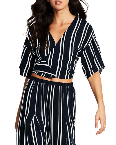 Summer Sea Striped Wrap Top