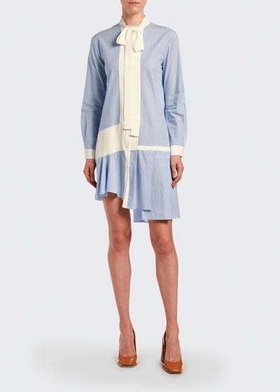 Paneled Tie-Neck Striped Asymmetric Dress