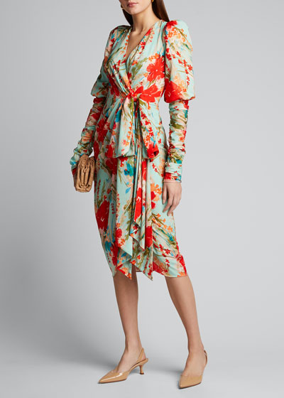 Floral Balloon-Sleeve Dress with Side-Bow Dress