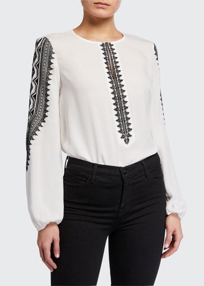 Zadie Long-Sleeve Silk Blouse