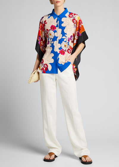 Isadora Floral-Print Button-Front Silk Blouse
