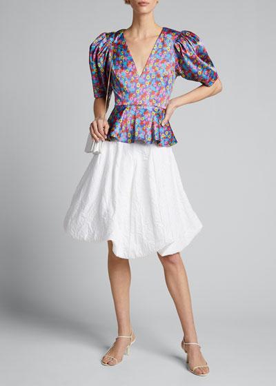 Mindy Floral Puff-Sleeve Peplum Top