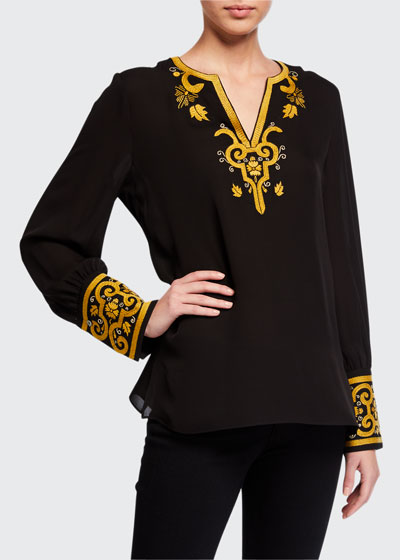 Hope Embroidered Silk Blouse