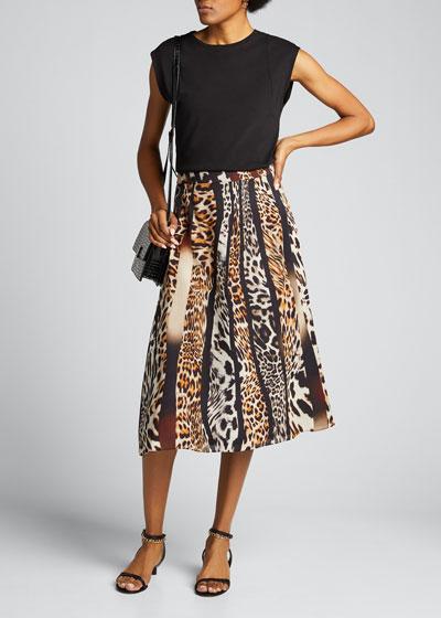 Bari Animal-Print Silk Skirt