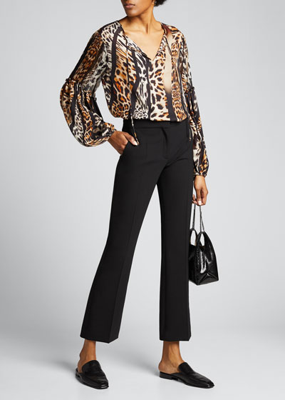 Fallon Animal-Print Blouson-Sleeve Silk Blouse