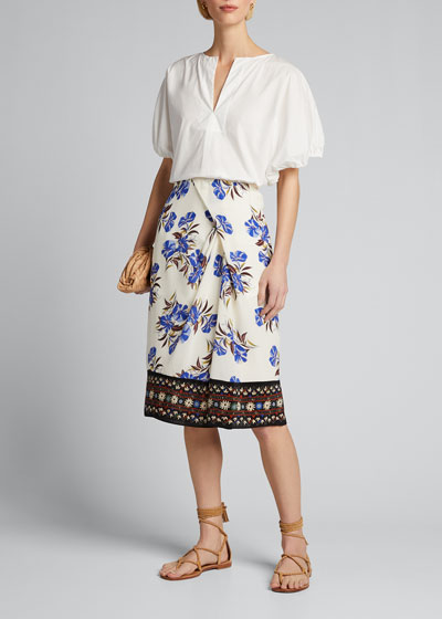 Lyle Floral Silk Skirt