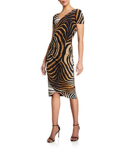 Ajak Printed Short-Sleeve Shirred Dress