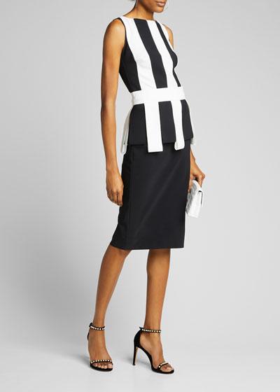 Julita Sleeveless Stripe-Bodice Sheath Dress