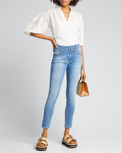 Le High Double-Waistband Cropped Skinny Jeans