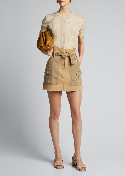 Paperbag Belted Two-Tone Skirt