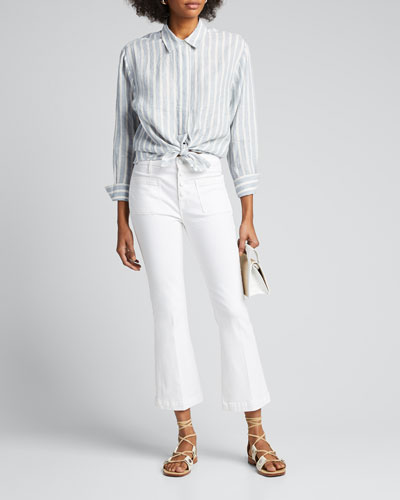Tie Up Striped Button-Down Shirt