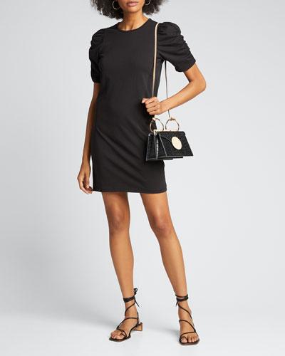 Gathered Short-Sleeve Dress