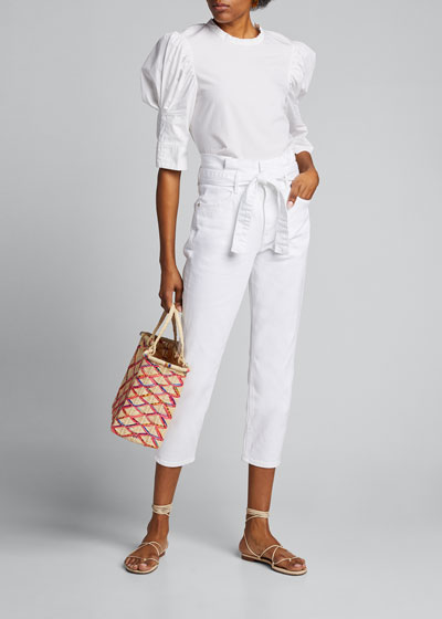 Belted Pleated Pegged Jeans