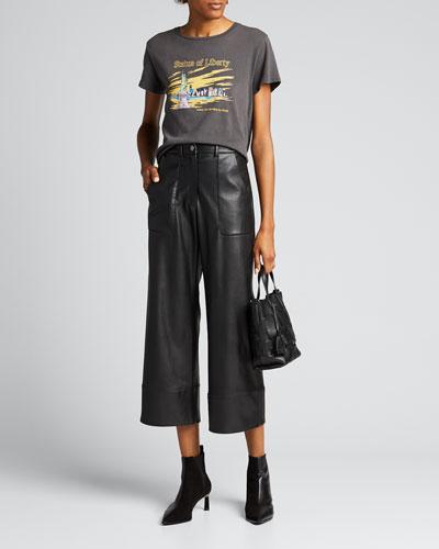 Tara Faux-Leather Cropped Pants