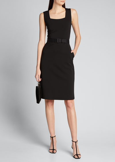 Monica Secco Stretch Sleeveless Belted Dress