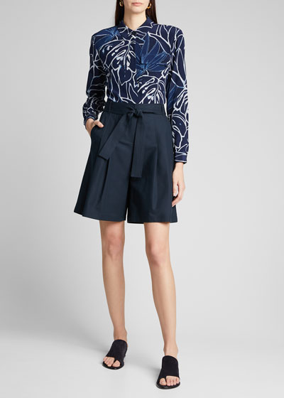 Aurora Zora Reverse Porcelain Print Button-Down Silk Shirt