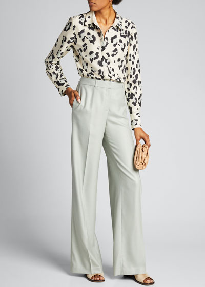 Scottie Painted Leopard Print Silk Button-Down Blouse