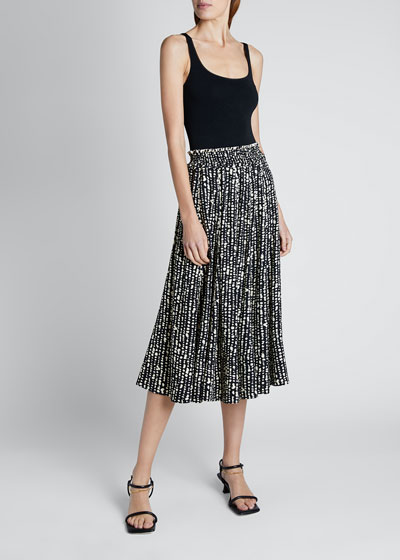 Printed Georgette Pleated Midi Skirt