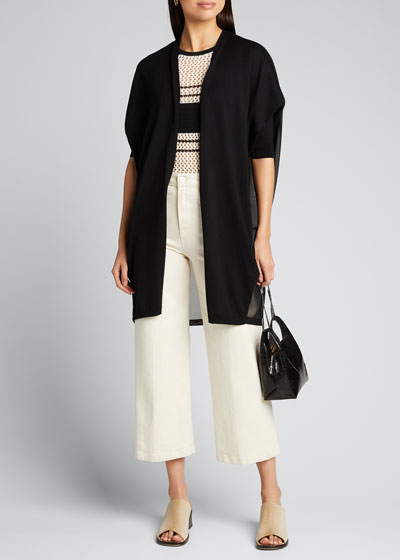 Open-Front Cotton-Silk Combo Cardigan