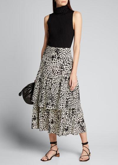 Zia Cheetah Print Tiered Silk Skirt