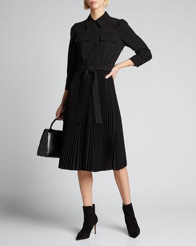 Ere 3/4-Sleeve Pleated Skirt Shirtdress