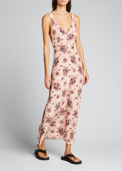 Long Floral-Print Silk Slip Dress