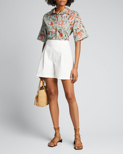 Seashell Poplin Button-Down Top