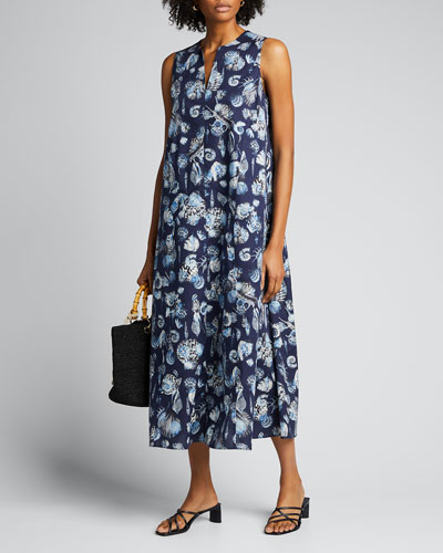Seashell Printed A-Line Poplin Dress