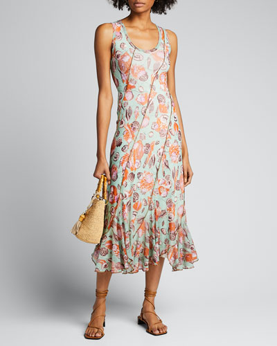 Seashell Printed Seamed Tank Dress
