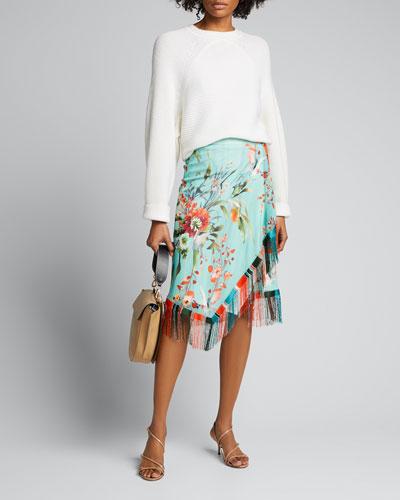 Floral Print Asymmetrical Fringe Skirt