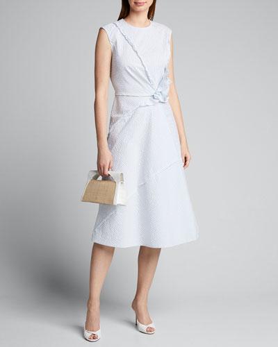 Sleeveless Striped Seersucker Asymmetric Ruffle Dress