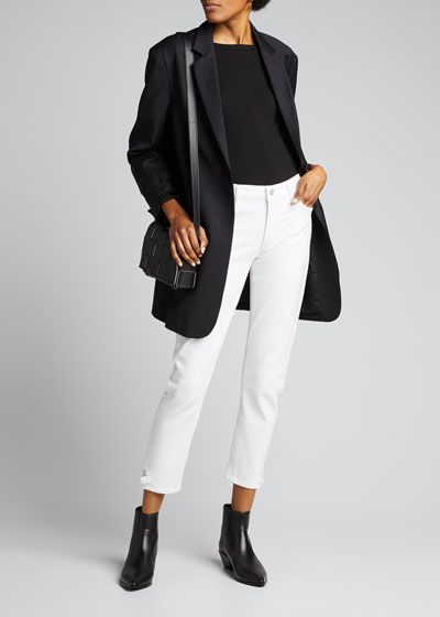 Toni White Mid-Rise Slim Straight Jeans