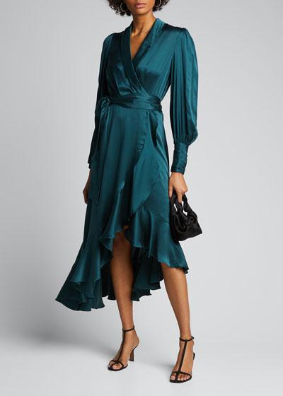 Silk Satin Wrapped Midi Dress