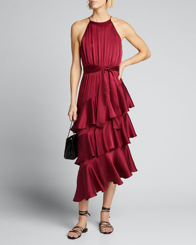 Tiered Silk Picnic Midi Dress