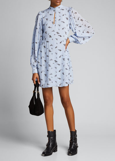 Printed Georgette Long-Sleeve Short Dress