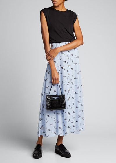 Printed Georgette Button-Front Midi Skirt