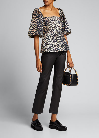 Leopard-Print Poplin Button-Down Top