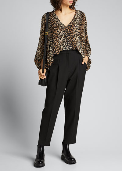 Pleated Georgette Leopard-Print Blouse
