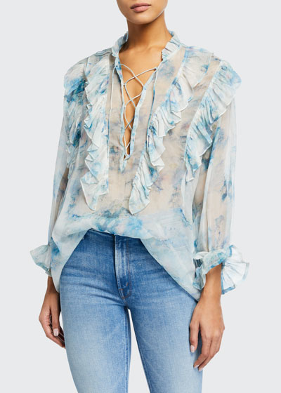 Cruis Printed Ruffle Lace-Up Blouse