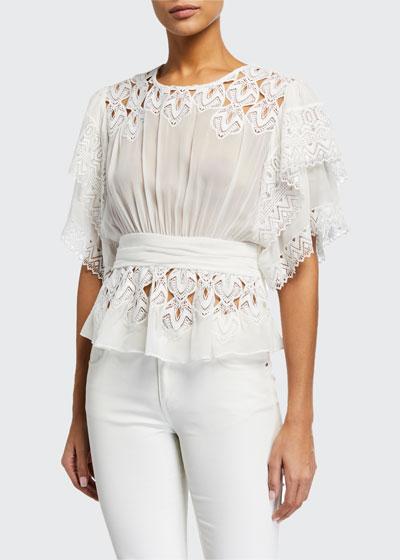 Caleona Shirred Embroidered Short-Sleeve Blouse