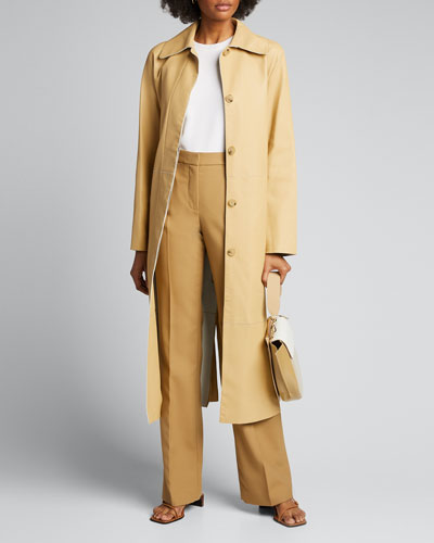 Double-Face Leather Trench Coat