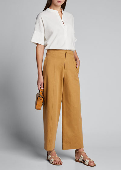 High-Waist Twill Utility Pants