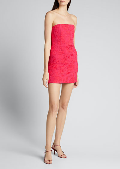 Perla Boned Strapless Pleated Dress