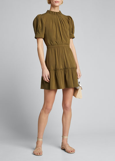 Vida Puff-Sleeve Tiered Dress