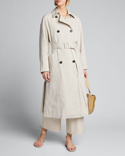 Side-Slit Linen Trench Coat