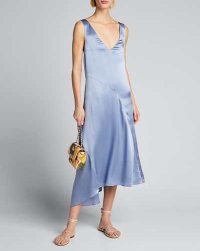 Double V-Neck Asymmetric Seamed Slip Dress